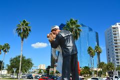 Unconditional surrender, Sarasota, Florida, USA. Unconditional surrender statue - sailor kissing a nurse, Sarasota, Florida, USA Stock Photography