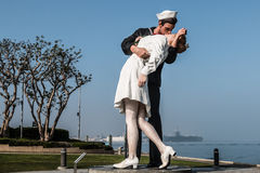 Unconditional Surrender Sculpture of Alfred Eisenstaedt Photograph. SAN DIEGO, CALIFORNIA - FEBRUARY 29, 2016: Unconditional Surrender, a sculpture by Seward Stock Photo