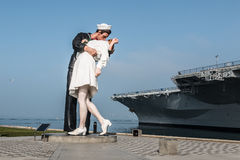 Unconditional Surrender Sculpture in San Diego. SAN DIEGO, CALIFORNIA - FEBRUARY 29, 2016: The Unconditional Surrender sculpture, resembling a photograph taken Royalty Free Stock Photography