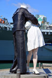 Unconditional Surrender sculpture. SAN DIEGO USA APRIL 8 2015: Unconditional Surrender sculpture at sea port in San Diego. By Seward Johnson, the statue Royalty Free Stock Photos