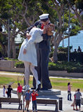 Unconditional Surrender sculpture. SAN DIEGO USA APRIL 8 2015: Unconditional Surrender sculpture at sea port in San Diego. By Seward Johnson, the statue Stock Images