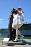 Unconditional Surrender sculpture. SAN DIEGO USA APRIL 8 2015: Unconditional Surrender sculpture at sea port in San Diego. By Seward Johnson, the statue Royalty Free Stock Images