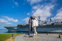 Unconditional Surrender sculpture at sea port. SAN DIEGO, USA - SEP 28, 2014: Unconditional Surrender sculpture at sea port on September 28, 2014 in San Diego Royalty Free Stock Photo