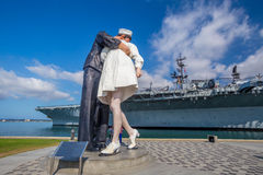 Unconditional Surrender sculpture at sea port stock photos