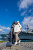 Unconditional Surrender sculpture at sea port Stock Image
