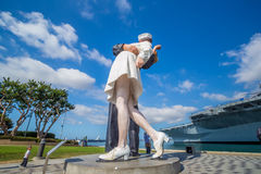 Unconditional Surrender sculpture at sea port. SAN DIEGO, USA - SEP 28, 2014: Unconditional Surrender sculpture at sea port on September 28, 2014 in San Diego Royalty Free Stock Images