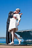 Unconditional Surrender statue OR The Kiss. A 25-foot statue named Unconditional Surrender (often called The Kiss) by artist J. Seward Johnson commemorating a Stock Photo