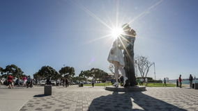 Unconditional Surrender Statue Time Lapse in Downtown San Diego. Time lapse of tourist and visitors at the historic Unconditional Surrender Statue in Downtown stock footage