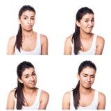 Unconfident, niepewna, zmartwiona dziewczyna złożona, Obraz Stock