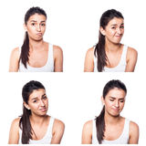 Unconfident, unsure, worried girl composite Stock Image