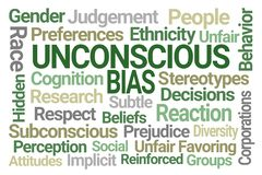 Unconscious Bias Word Cloud. On Blue Background royalty free illustration