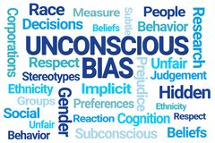 Unconscious Bias Word Cloud. On White Background royalty free illustration