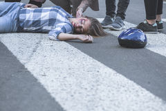 Unconscious casualty of a car crash Royalty Free Stock Photo