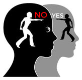The Unconscious Mind. Consciousness versus unconsciousness, making complicated decisions, yes or no stock illustration