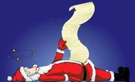 Unconscious Santa Claus list. Vector illustration of one santa that pass out vector illustration