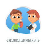 Uncontrolled movements medical concept. Vector illustration. Doctor and patient are talking in the hospital. Isolated on white background Stock Photo