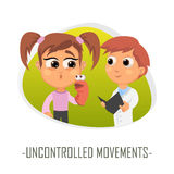 Uncontrolled movements medical concept. Vector illustration. Doctor and patient are talking in the hospital. Isolated on white background Royalty Free Stock Photos