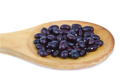 Uncoocked red beans on wooden spoon. Gernika beans. Royalty Free Stock Photography