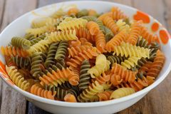 Uncook Italian raw fusilli pasta Royalty Free Stock Images