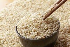Uncooked коричневый рис в кишечнике и палочках с древообразным backg Стоковое Изображение RF