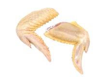 2 uncooked крыла цыпленка. Изолировано. Стоковая Фотография