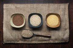 Uncooked ancient grains of teff, sorghum, millet and buckwheat in seed form. Photo of four ancient grains including teff, sorghum, millet and buckwheat. Three royalty free stock image