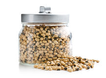 Uncooked beans in jar Stock Photo