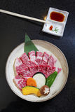 Uncooked beef of ishigaki top view,close up with black backgroun Stock Images