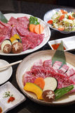 Uncooked beef of ishigaki top view,close up with black backgroun Stock Photo