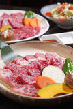 Uncooked beef of ishigaki top view,close up with black backgroun Royalty Free Stock Image