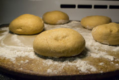 Uncooked Bread Dough on Pan Stock Image