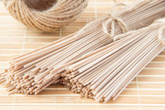 Uncooked buckwheat noodles for pasta Royalty Free Stock Photo