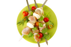 Uncooked chicken kebabs Stock Photography