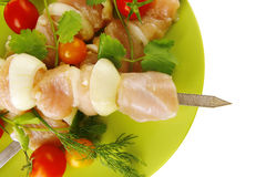 Uncooked chicken kebabs Stock Photos
