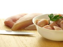 Uncooked chicken meat, isolated. Uncooked chicken meat for prepared on isolated background Stock Images