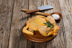 Uncooked  chicken on a old wooden table. Whole raw chicken on a old wooden  background with copy-space Stock Images