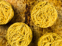 Uncooked Chinese Style Fine Egg Noodles Nests Stock Photo