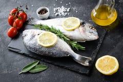 Uncooked dennego leszcza ryba, oliwa z oliwek, cytryna i pikantność na łupku, zdjęcia royalty free