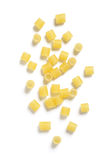 Uncooked Ditalini Pasta on White Background Royalty Free Stock Photos