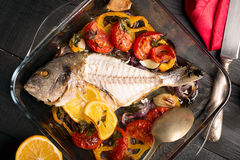 Uncooked dorado or sea bass Stock Photo