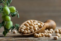 Uncooked dried chickpeas in wooden shovel with raw green chickpea pod plant on wooden table. Heap of legume chickpea background stock photos