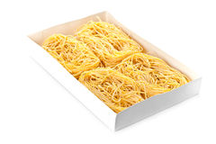 Uncooked egg pasta in box Royalty Free Stock Image