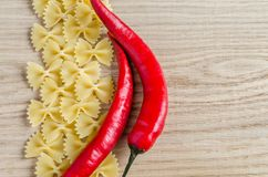 Uncooked farfalle pasta background Royalty Free Stock Photography