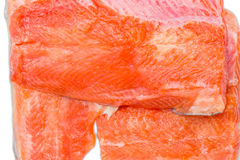 Uncooked fillet of rainbow trout closeup. Several pieces of fresh uncooked fillet of rainbow trout closeup Stock Images