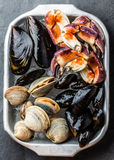 Uncooked fresh seafood Mussels, Clams, Vongole and Crabs. Uncooked raw fresh seafood - mussels, clams, vongole and crabs on ice on blac stone slate background Stock Images