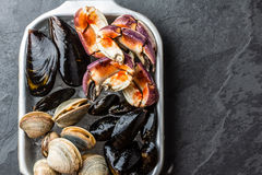 Uncooked fresh seafood Mussels, Clams, Vongole and Crabs Royalty Free Stock Images