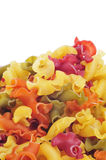 Uncooked gigli pasta of different colors Royalty Free Stock Photos