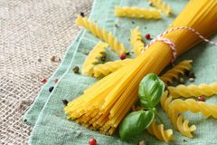 Uncooked gluten free pasta from blend of corn and rice flour Stock Images