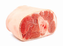 Uncooked ham with skin isolated on white Royalty Free Stock Photo