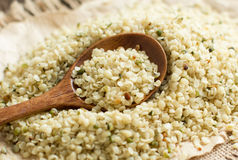Uncooked Hemp seeds with a spoon. Pile of Uncooked Hemp seeds with a spoon close up stock photography